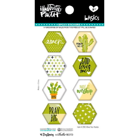 EPOXY STICKERS - Green Large Hex