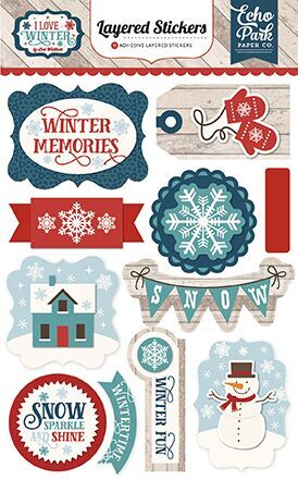 I LOVE WINTER - Layered Stickers