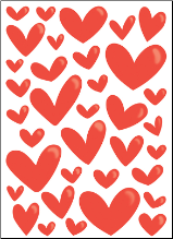 STICKERS - Enamel Hearts RED